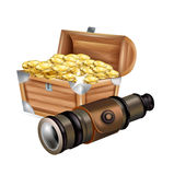 Telescope with treasure chest isolated on white Royalty Free Stock Photography