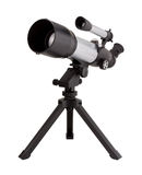 Telescope and Tripod. Isolated on white, with a clipping path. The image is in full focus, front to back. The isolation is on a transparent background in the Royalty Free Stock Photos