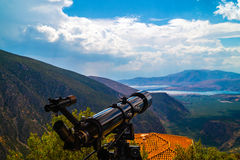 Telescope on tripod located in Delphi Royalty Free Stock Photos