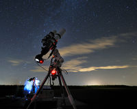 Telescope under the night sky 4. Astrophotographers in the field with telescopes under the stars royalty free stock image