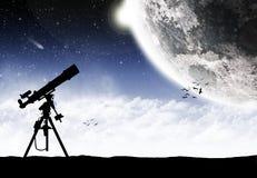 Telescope under a space lanscape Stock Photos