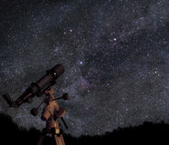 Telescope under starry skies. A picture of telescope pointed at the beautiful starry sky Stock Photo