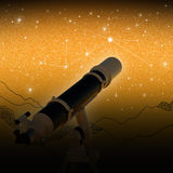 Telescope. Under the Stars. Orange background Royalty Free Stock Images