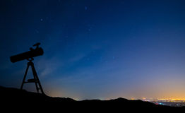 Telescope Under the Stars Stock Images