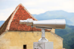 Telescope used for viewing mountains Royalty Free Stock Image