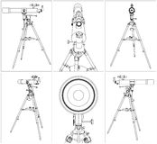 Telescope Vector 03. Telescope On Tripod Isolated Illustration Vector Stock Images