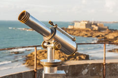 Telescope and View from Saint-Malo, Normandy, France Royalty Free Stock Photos