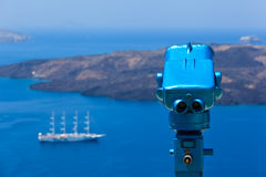 Telescope view over Santorini Royalty Free Stock Photos