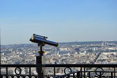 A telescope with the view on Paris. A silver telescope showing the view on Paris Stock Photography