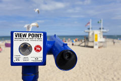 Telescope View Point on British Beach & Seagulls Royalty Free Stock Photography