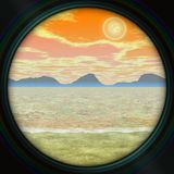 Telescope view, romantic landscape with sea and mountains, orange sunrise, image in soft pastel colors Royalty Free Stock Images