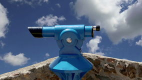 Telescope viewer against the sky   time lapse stock video footage