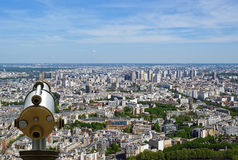 Telescope viewer and city skyline at daytime. Paris. France. Taken from the tour Montparnasse Royalty Free Stock Photo