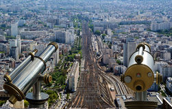 Telescope viewer and city skyline at daytime. Paris, France Stock Image