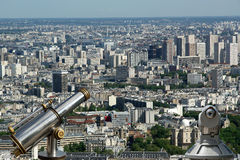 Telescope viewer and city skyline at daytime. Paris, France. Royalty Free Stock Photography