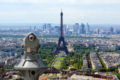 Telescope viewer and city skyline at daytime. Paris, France Royalty Free Stock Photos