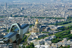 Telescope viewer and city skyline at daytime. Paris, France Royalty Free Stock Images