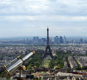 Telescope viewer and city skyline at daytime. Paris, France. Taken from the tour Montparnasse with the Eiffel Tower, Le Grande Palais, Les Halles, St. Eustace Stock Photo