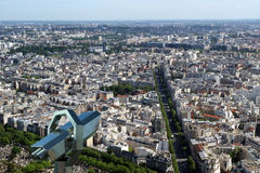 Telescope viewer and city skyline at daytime. Paris, France. Taken from the tour Montparnasse with the Eiffel Tower, Le Grande Palais, Les Halles, St. Eustace Stock Photos