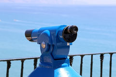 Telescope viewer overlooking from Balcon de Europa in Nerja, Andalusia, Spain Royalty Free Stock Images