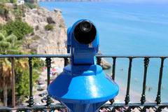 Telescope viewer overlooking from Balcon de Europa in Nerja, Andalusia, Spain Royalty Free Stock Photos