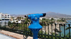 Telescope viewer overlooking from Balcon de Europa in Nerja, Andalusia, Spain Stock Photography