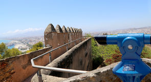 Telescope viewer overlooking the Gibralfaro castle and aerial view of Malaga in Andalusia, Spain Stock Photography