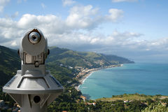 Telescope viewer and Panoramic landscape Royalty Free Stock Photos