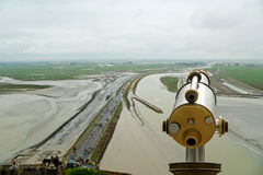 Telescope viewer and  View from Mont Saint-Michel, France Royalty Free Stock Photo