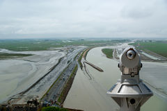 Telescope viewer and  View from Mont Saint-Michel, France. Telescope viewer and  View from Mont Saint-Michel, Normandy, France--one of the most visited tourist Royalty Free Stock Photography