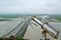 Telescope viewer and  View from Mont Saint-Michel, France. Telescope viewer and  View from Mont Saint-Michel, Normandy, France--one of the most visited tourist Stock Image