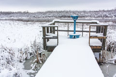 Telescope on Viewing Deck in Winter Stock Photos