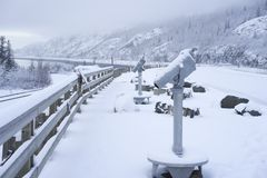 Telescope for vistors along Turnagain Arm Alaska Stock Photo