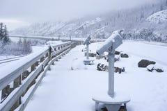 Telescope for vistors along Turnagain Arm Alaska Stock Photo