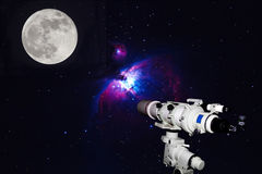 Telescope watching the Great Orion Nebula, M42, NGC1976 on dark. Night Deep Sky Objects  and Full moon,blurry and soft focus Royalty Free Stock Image