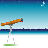 Telescope watching the moon Stock Photography