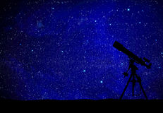 Telescope watching the wilky way Stock Images