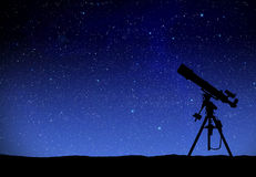 Telescope watching the wilky way Royalty Free Stock Image