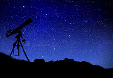 Telescope watching the wilky way Royalty Free Stock Photos