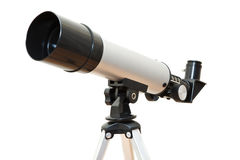 Telescope on white background stock images