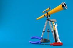 Telescope with work tools. Isolated on blue background. 3d illustration vector illustration