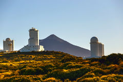 Telescopes of the Astronomical Observatory Izana with Volcano El Teide Stock Image