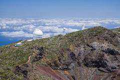 Telescopes at highest peak of La Palma Stock Photos