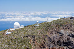 Telescopes at the highest peak of La Palma Royalty Free Stock Image