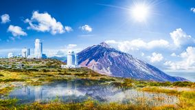 Telescopes of the Izana astronomical observatory on Teide park, Tenerife, Canary Islands, Spain
