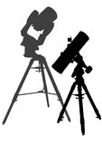 Telescopes on tripods Stock Images