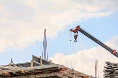 Telescopic arms of mobile construction crane Stock Photo