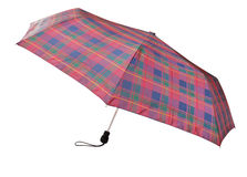 Telescopic checkered umbrella isolated on white Royalty Free Stock Photo