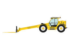 Telescopic handler. Equipped with fork on a white background. Side view. Flat vector Stock Photo