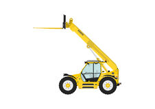 Telescopic handler. Equipped with fork on a white background. Side view. Flat vector Stock Images